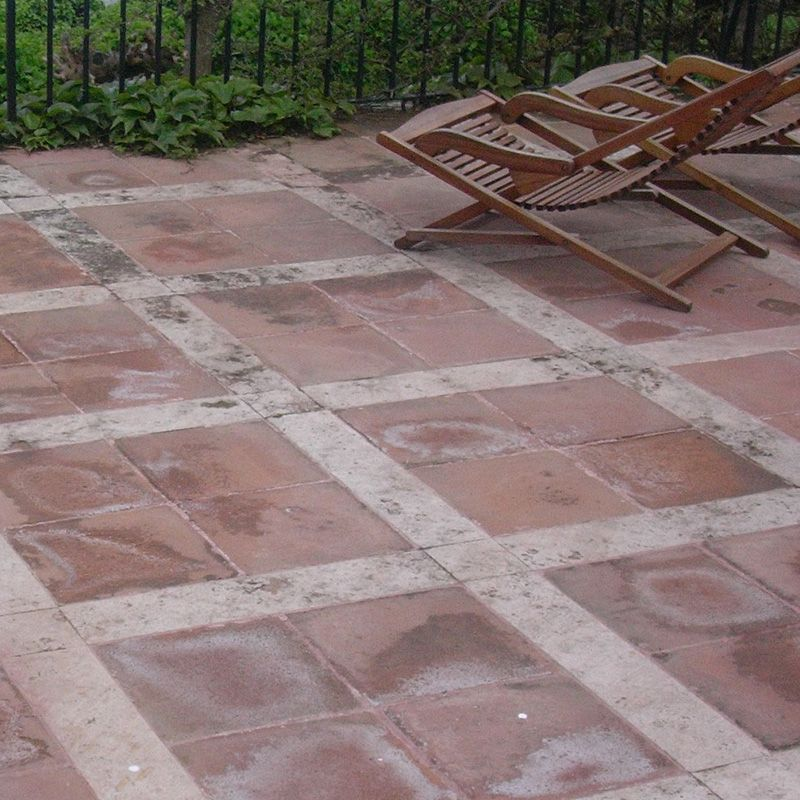 Saline efflorescence on Terracotta, quarry tiles and brick